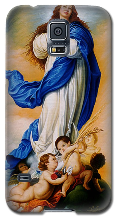 Immaculate Conception Galaxy S5 Case featuring the painting Virgin Of The Immaculate Conception After Murillo by Gary Hernandez