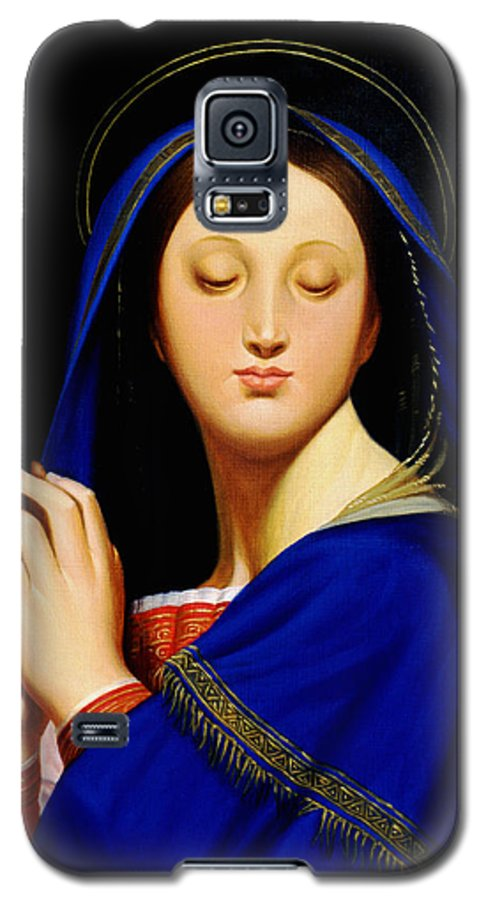 Religious Galaxy S5 Case featuring the painting Virgin With The Host After Ingres by Gary Hernandez
