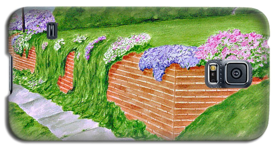 Landscape Galaxy S5 Case featuring the painting Wall Of Flowers by Regan J Smith