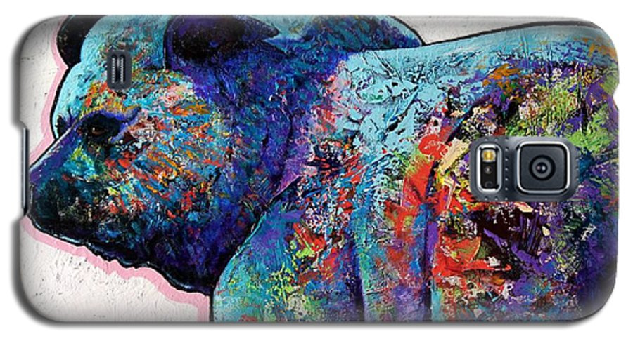 Wildlife Galaxy S5 Case featuring the painting Watchful Eyes - Grizzly Bear by Joe Triano