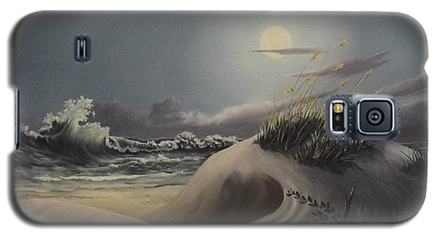 Landscape Galaxy S5 Case featuring the painting Waves And Moonlight by Wanda Dansereau