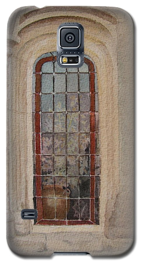 Window Galaxy S5 Case featuring the painting What Is Behind The Window Pane by Mary Ellen Mueller Legault