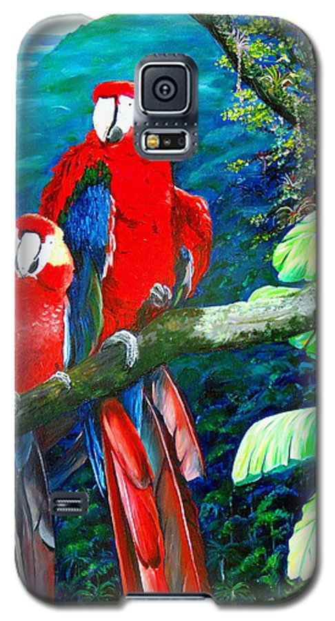 Caribbean Painting Green Wing Macaws Red Mountains Birds Trinidad And Tobago Birds Parrots Macaw Paintings Greeting Card  Galaxy S5 Case featuring the painting Who Me  by Karin Dawn Kelshall- Best