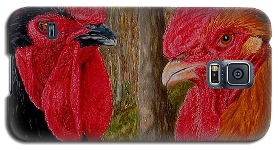 Roosters Galaxy S5 Case featuring the painting Who You Calling Chicken by Karen Ilari
