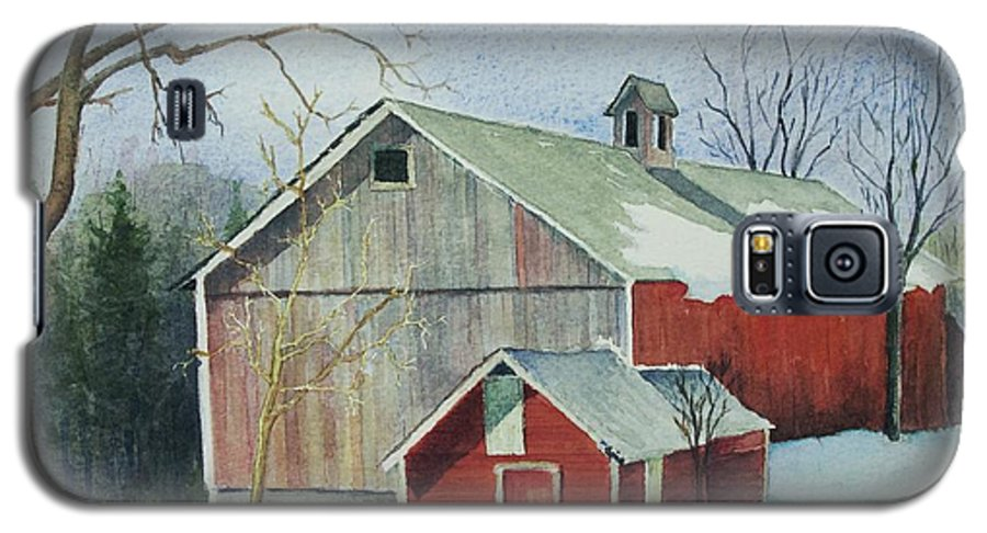 New England Galaxy S5 Case featuring the painting Williston Barn by Mary Ellen Mueller Legault