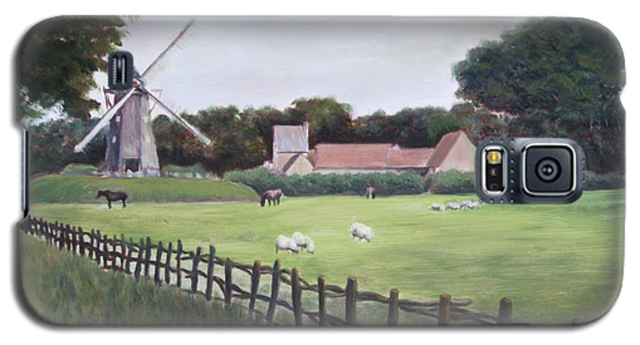 Farm Galaxy S5 Case featuring the painting Windmill On Farm by Jennifer Lycke