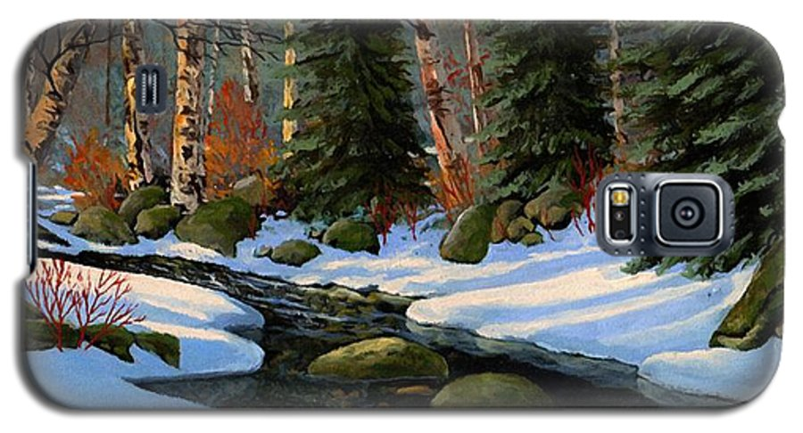 Landscape Galaxy S5 Case featuring the painting Winter Brook by Frank Wilson