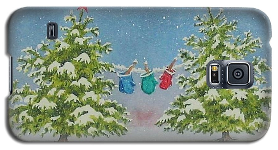Fun Galaxy S5 Case featuring the painting Winter Is Fun by Mary Ellen Mueller Legault
