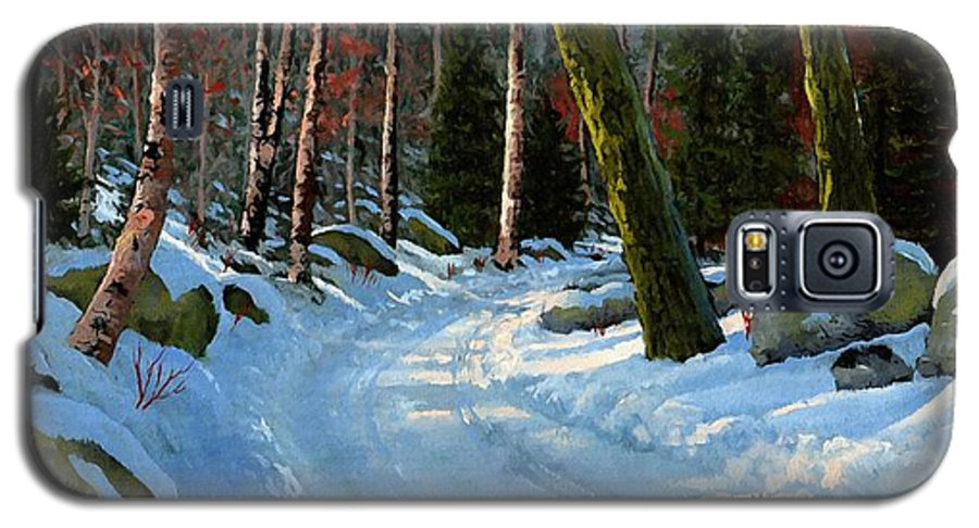 Landscape Galaxy S5 Case featuring the painting Winter Road by Frank Wilson