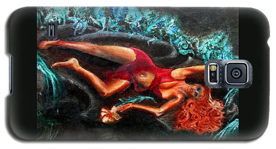 Females Galaxy S5 Case featuring the painting Woman In A Red Dress Holding A Flower by Tom Conway