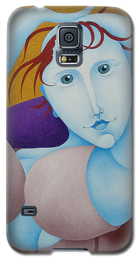 Sacha Galaxy S5 Case featuring the painting Woman With Raised Arms 2006 by S A C H A - Circulism Technique