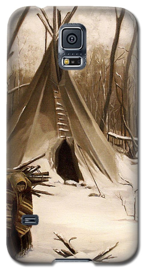 Native American Galaxy S5 Case featuring the painting Wood Gatherer by Nancy Griswold