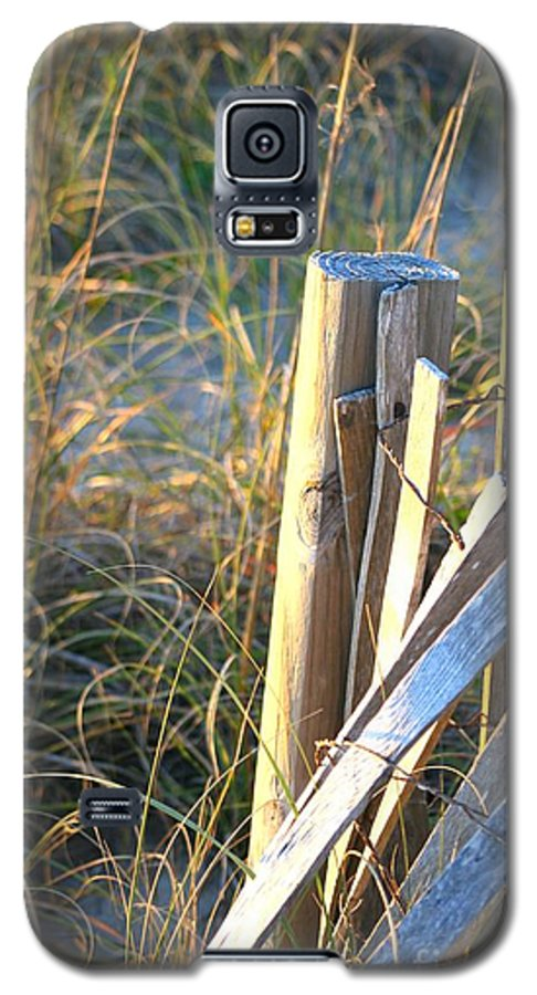 Post Galaxy S5 Case featuring the photograph Wooden Post And Fence At The Beach by Nadine Rippelmeyer
