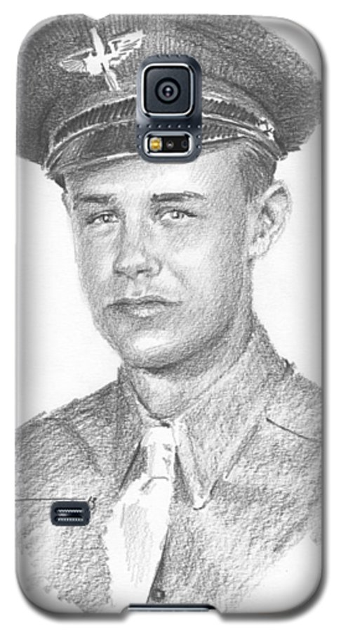 <a Href=http://miketheuer.com>www.miketheuer.com</a> Wwii Military Dad Pencil Portrait Galaxy S5 Case featuring the drawing Wwii Military Dad Pencil Portrait by Mike Theuer