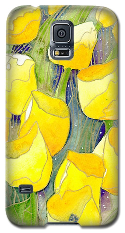 Yellow Tulips Galaxy S5 Case featuring the painting Yellow Tulips 2 by Christina Rahm Galanis