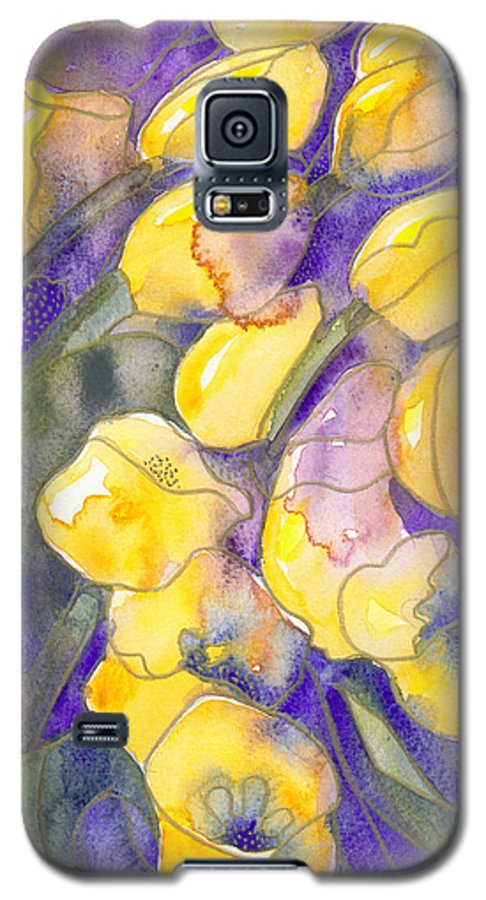 Yellow Tulips Galaxy S5 Case featuring the painting Yellow Tulips 3 by Christina Rahm Galanis
