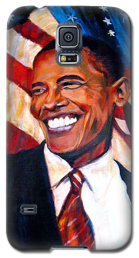 Barack Galaxy S5 Case featuring the painting Yes We Can by Art Nomad Sandra Hansen