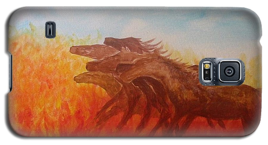 Horses Galaxy S5 Case featuring the painting You Shall Return No More To Egypt Deut 17 16 by Laurie Kidd
