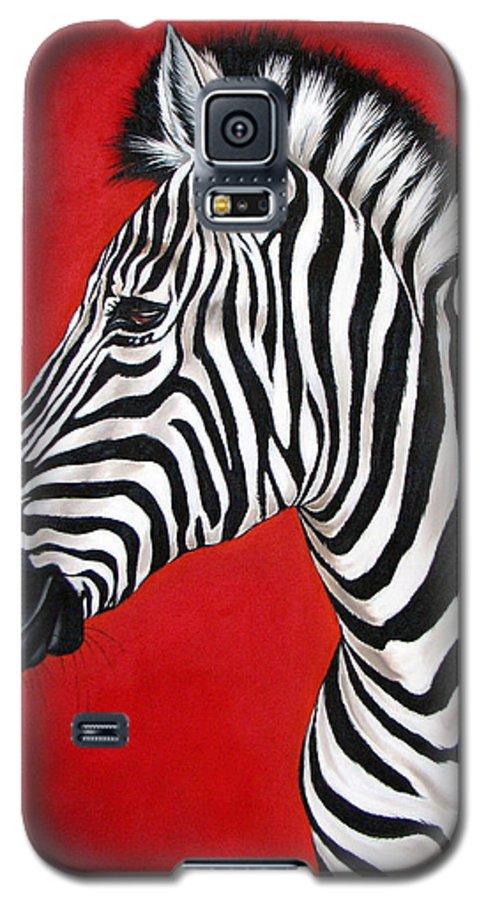 Zebra Galaxy S5 Case featuring the painting Zebra by Ilse Kleyn