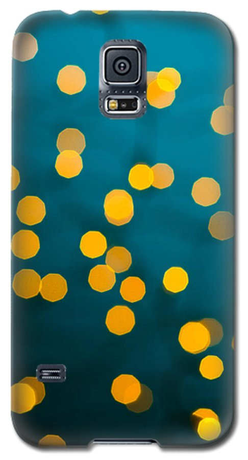 Green Galaxy S5 Case featuring the photograph Green Background With Gold Dots by U Schade