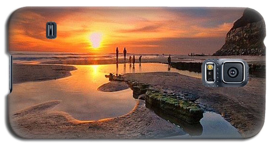 Galaxy S5 Case featuring the photograph Ultra Low Tide Sunset At A North San by Larry Marshall