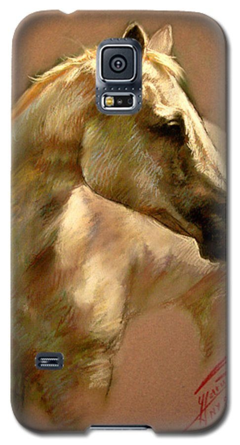 White Horse Galaxy S5 Case featuring the pastel White Horse by Ylli Haruni