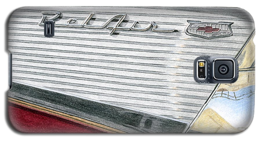 Classic Galaxy S5 Case featuring the drawing 1957 Chevrolet Bel Air Convertible by Rob De Vries
