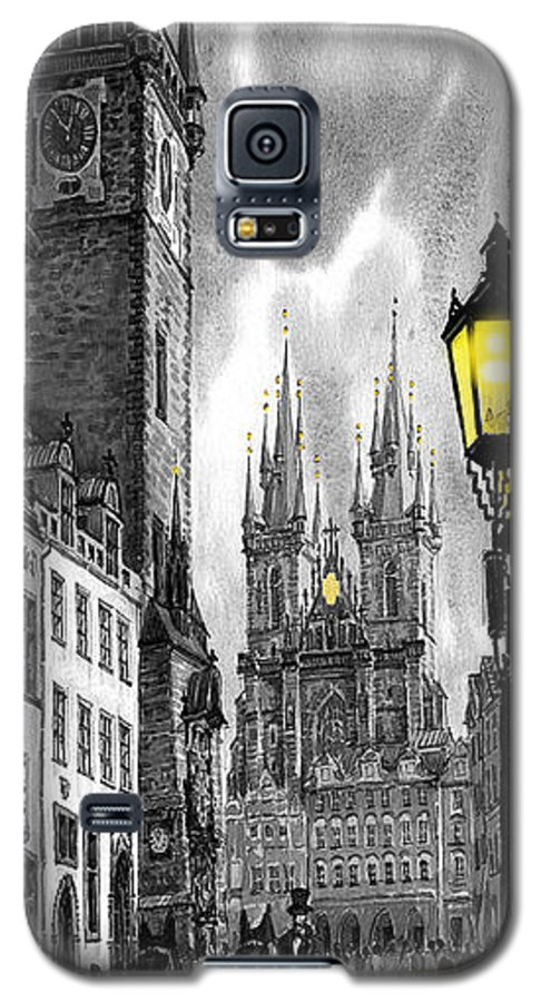 Geelee.watercolour Paper Galaxy S5 Case featuring the painting Bw Prague Old Town Squere by Yuriy Shevchuk