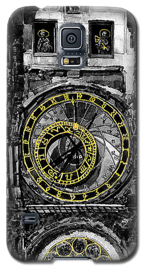 Geelee.watercolour Paper Galaxy S5 Case featuring the painting Bw Prague The Horologue At Oldtownhall by Yuriy Shevchuk