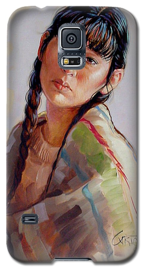 Sacajawea Galaxy S5 Case featuring the painting Sacajawea  Study by Jerrold Carton