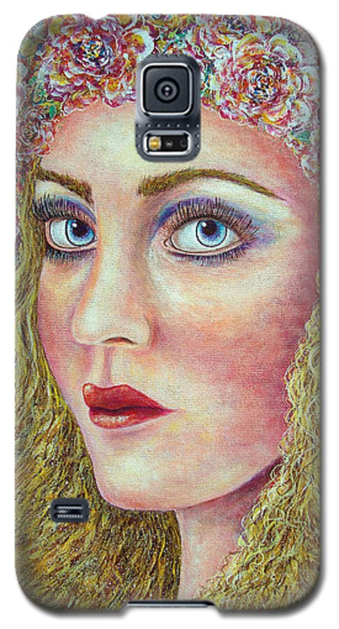 Woman Galaxy S5 Case featuring the painting  The Flower Girl by Natalie Holland