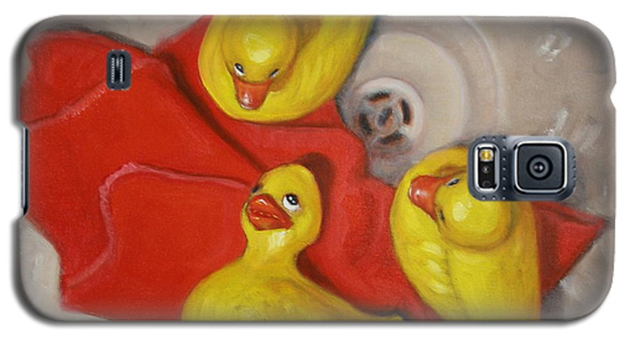 Realism Galaxy S5 Case featuring the painting Three Rubber Ducks #1 by Donelli DiMaria