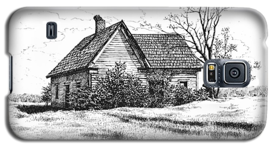 Landscape Galaxy S5 Case featuring the drawing Appalachee Farmhouse by Peter Muzyka