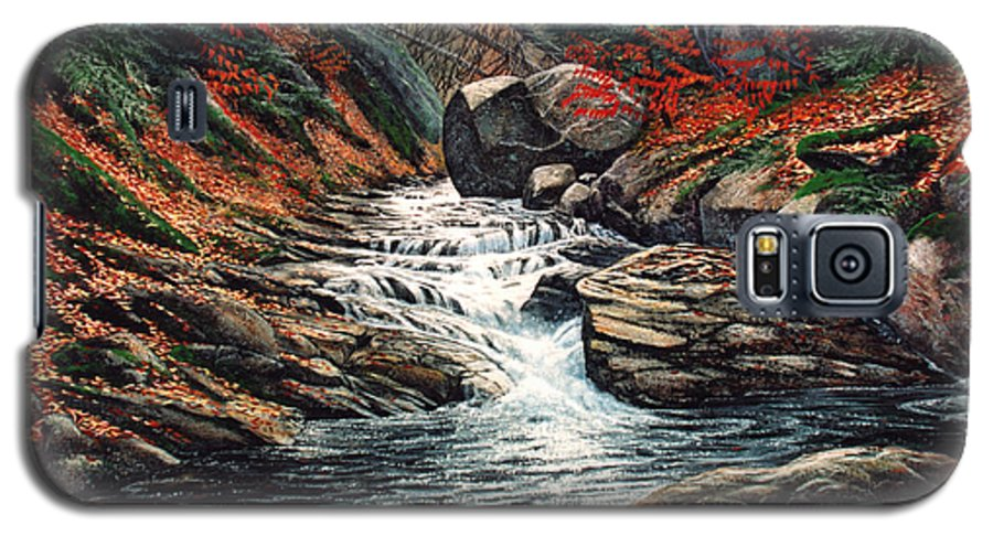 Landscape Galaxy S5 Case featuring the painting Autumn Brook by Frank Wilson