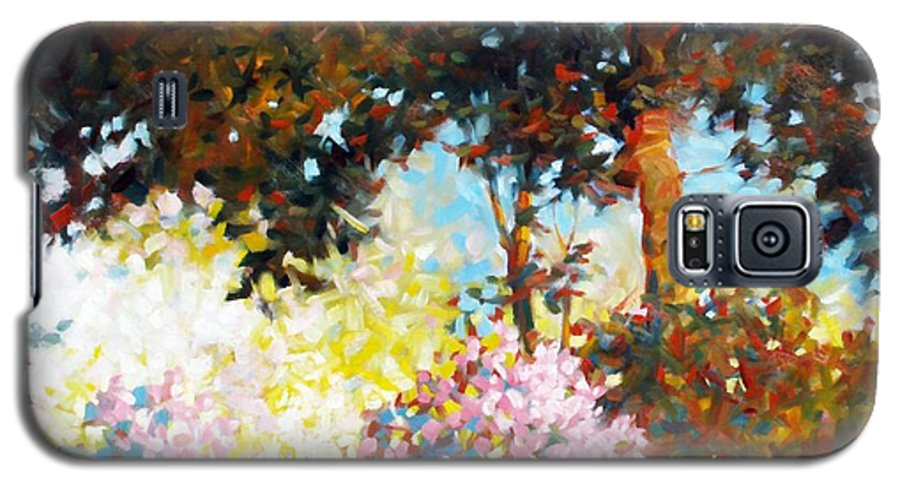 Landscape Galaxy S5 Case featuring the painting Azaleas by Kevin Lawrence Leveque