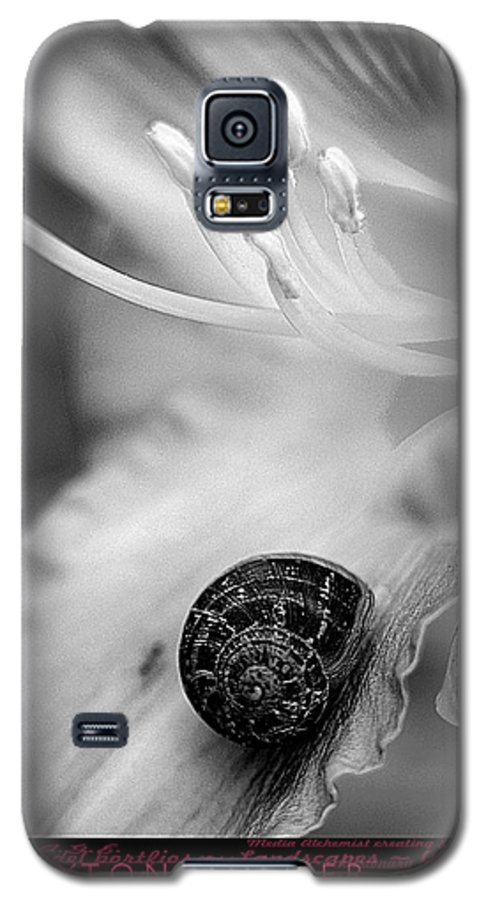 Clay Galaxy S5 Case featuring the photograph B And White Floral With Snail by Clayton Bruster