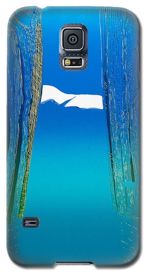 Landscape Galaxy S5 Case featuring the mixed media Between Two Mountains. by Jarle Rosseland
