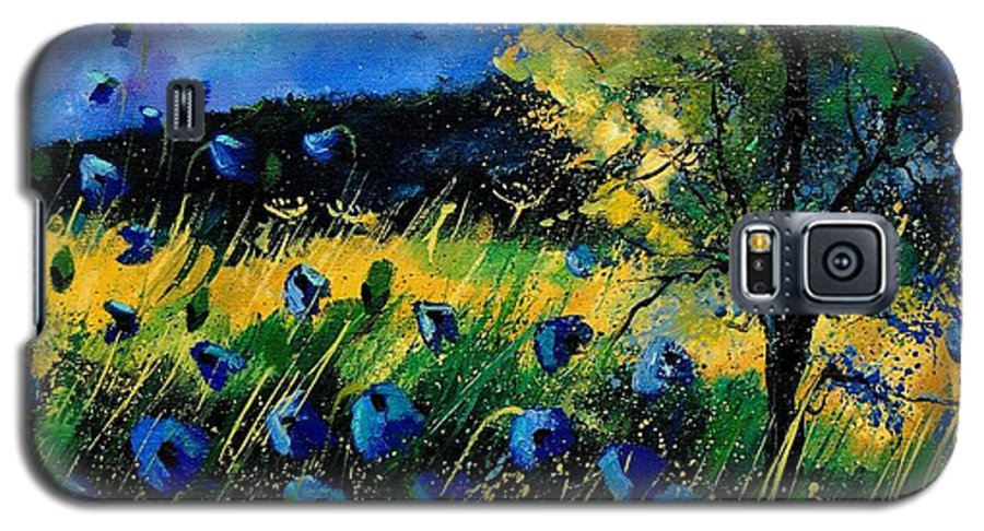 Poppies Galaxy S5 Case featuring the painting Blue Poppies by Pol Ledent