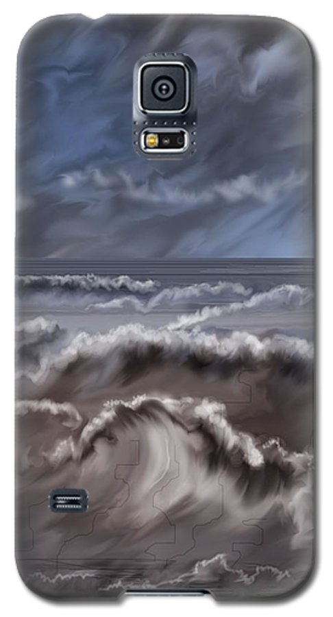 Seascape Galaxy S5 Case featuring the painting Caramel Seas by Anne Norskog