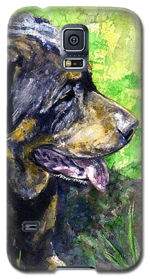 Rottweiler Galaxy S5 Case featuring the painting Chaos by John D Benson