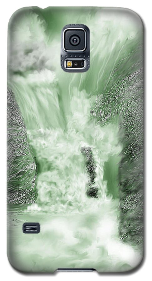 White Water Galaxy S5 Case featuring the painting Cherry Creek Lower Run by Anne Norskog