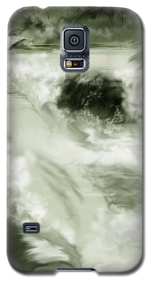 White Water Landscape Galaxy S5 Case featuring the painting Cherry Creek White Water by Anne Norskog