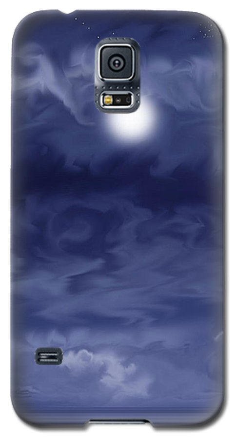 Moon Galaxy S5 Case featuring the painting Cobalt by Anne Norskog