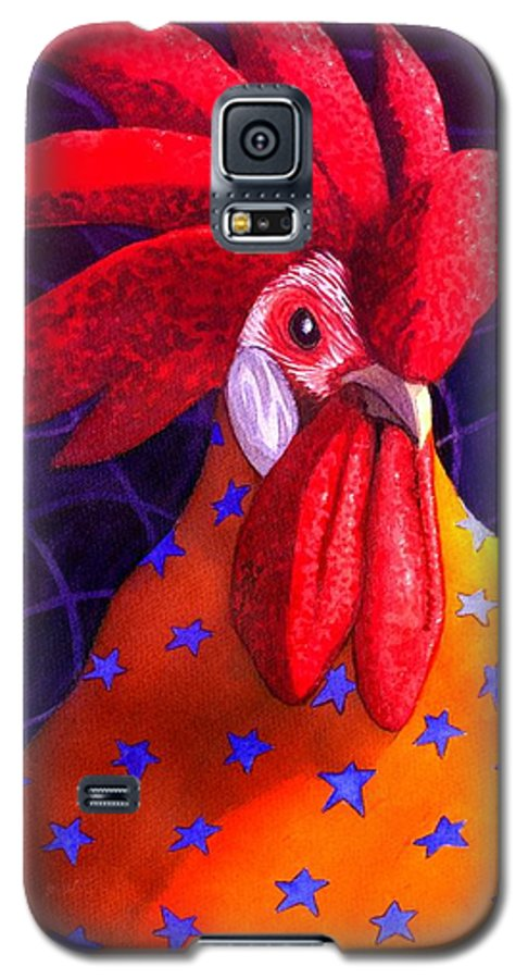 Rooster Galaxy S5 Case featuring the painting Cock A Doodle Dude by Catherine G McElroy