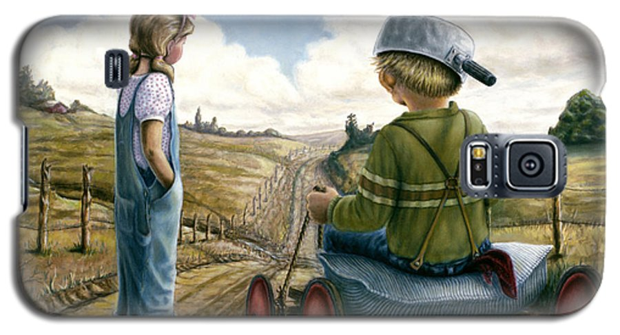 Children Playing Galaxy S5 Case featuring the painting Down Hill Racer by Lance Anderson