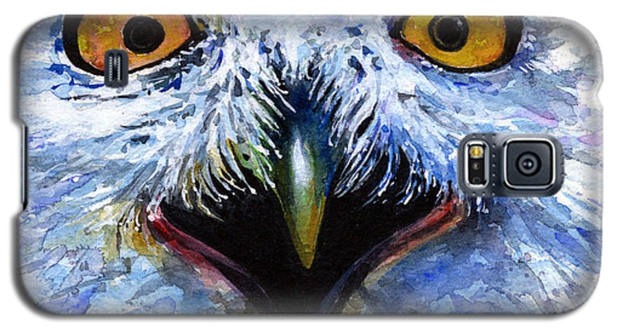 Eye Galaxy S5 Case featuring the painting Eyes Of Owls No. 15 by John D Benson