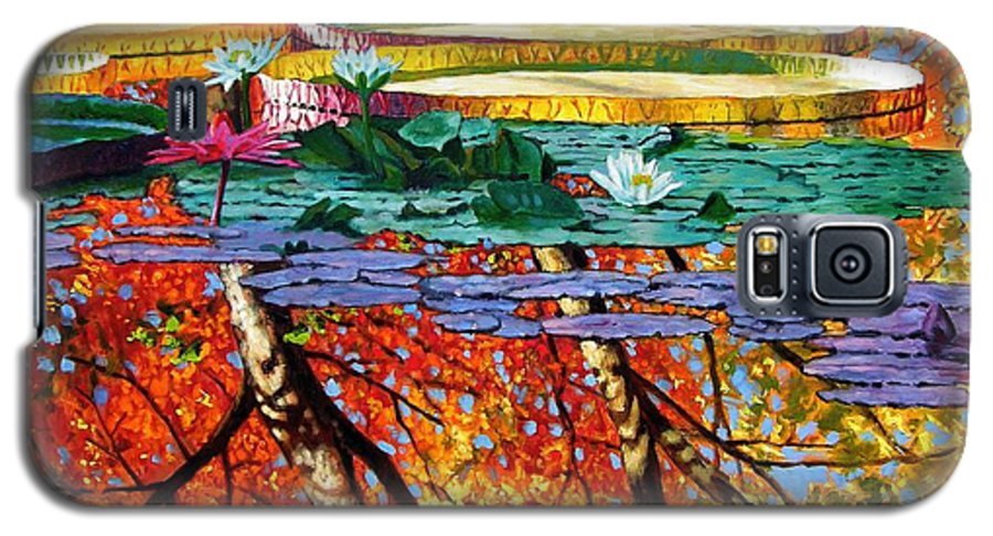 Water Lilies Galaxy S5 Case featuring the painting Fall Reflections by John Lautermilch