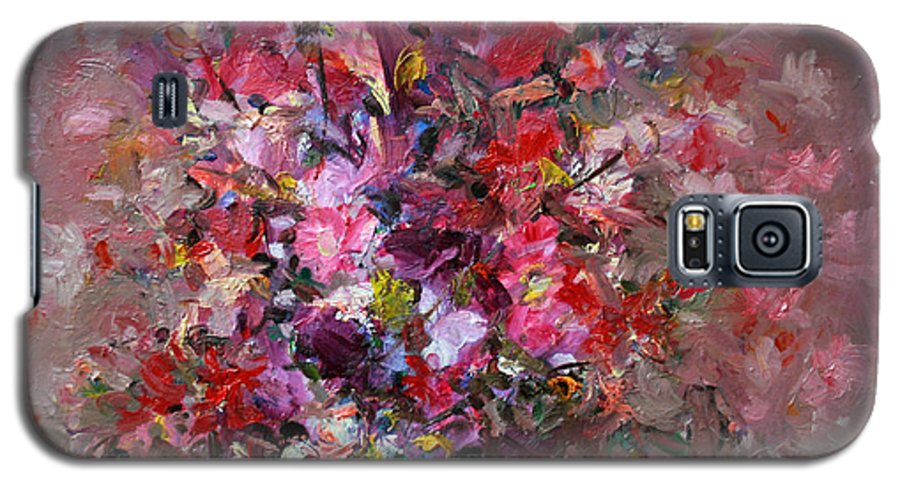 Pink Flowers Galaxy S5 Case featuring the painting Flowers by Mario Zampedroni