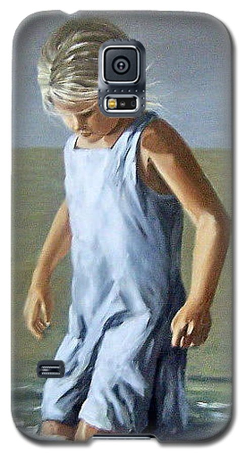 Girl Children Reflection Water Sea Figurative Portrait Galaxy S5 Case featuring the painting Girl by Natalia Tejera