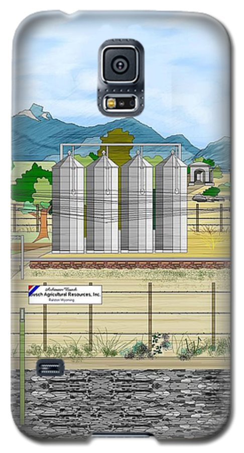Wyoming Galaxy S5 Case featuring the painting Grain Elevators At Ralston by Anne Norskog